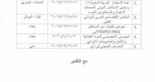 جدول بالمعارض والمؤتمرات التي تقام داخل وخارج العراق من شهر 11 /2019 ولغاية شهر 1 لسنة 2020